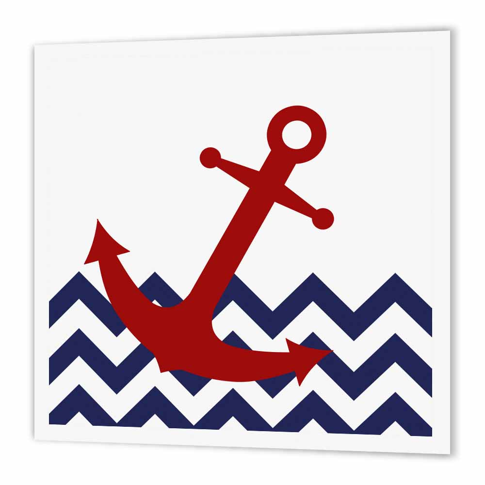 3dRose Red Nautical Boat Anchor on Chevron Pattern, Iron On Heat Transfer, 10 by 10-inch, For White Material