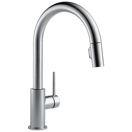 Delta Trinsic Single Handle Pull-Down Kitchen Faucet in Arctic Stainless 9159-AR-DST