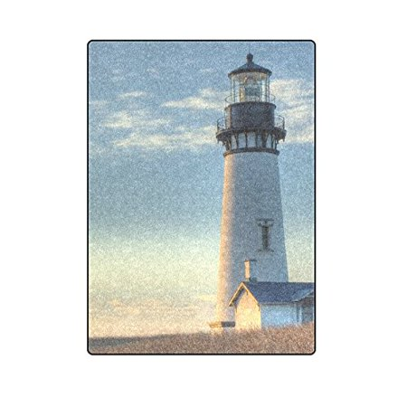 CADecor Sunset At The Yaquina Head Lighthouse Blanket Throw Super Soft Warm Bed or Couch Blanket 58x80