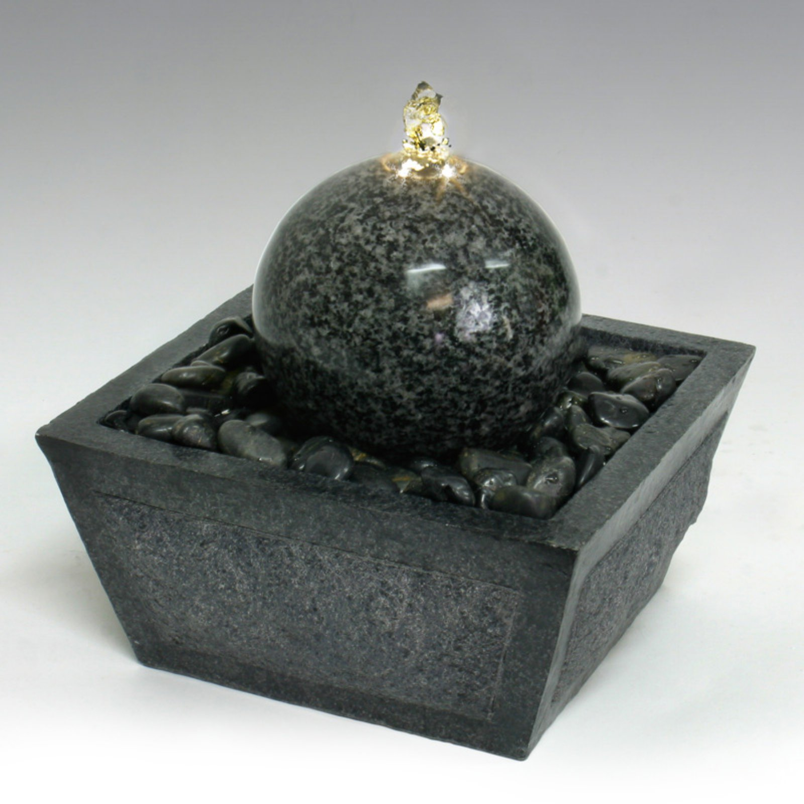 Algreen Illuminated Relaxation Outdoor Fountain with Granite Ball and Natural Stones - Gray