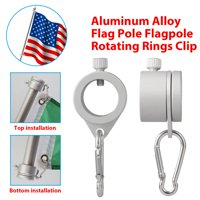 TSV Flag Pole Mounting Ring Clip 2Pcs Aluminum Rotating Flagpole Mounting Rings 360 Degree Spinning Flap Pole Kit with Carabiner   [Tangle Free | Anti-Wrap] - for 0.75-1.02 inch Diameter flagpoles