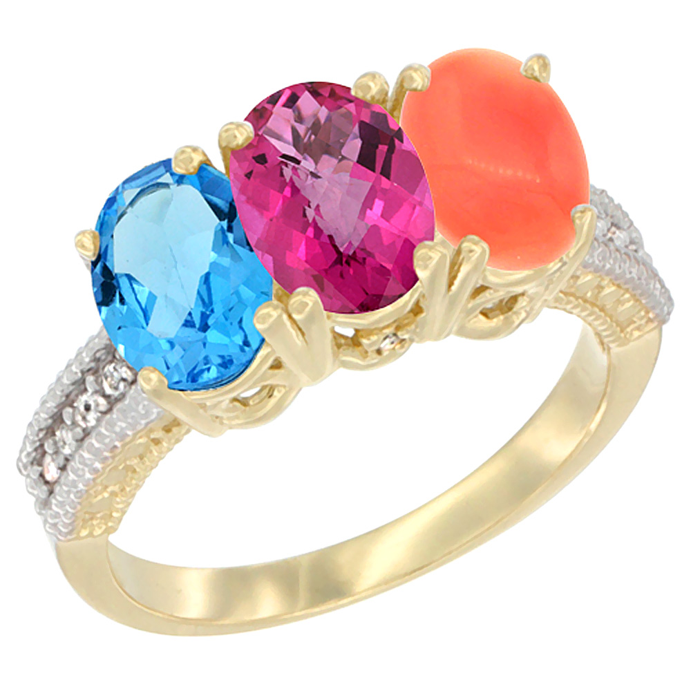 10K Yellow Gold Diamond Natural Swiss Blue Topaz, Pink Topaz & Coral Ring 3-Stone Oval 7x5 mm, sizes 5 10 by WorldJewels