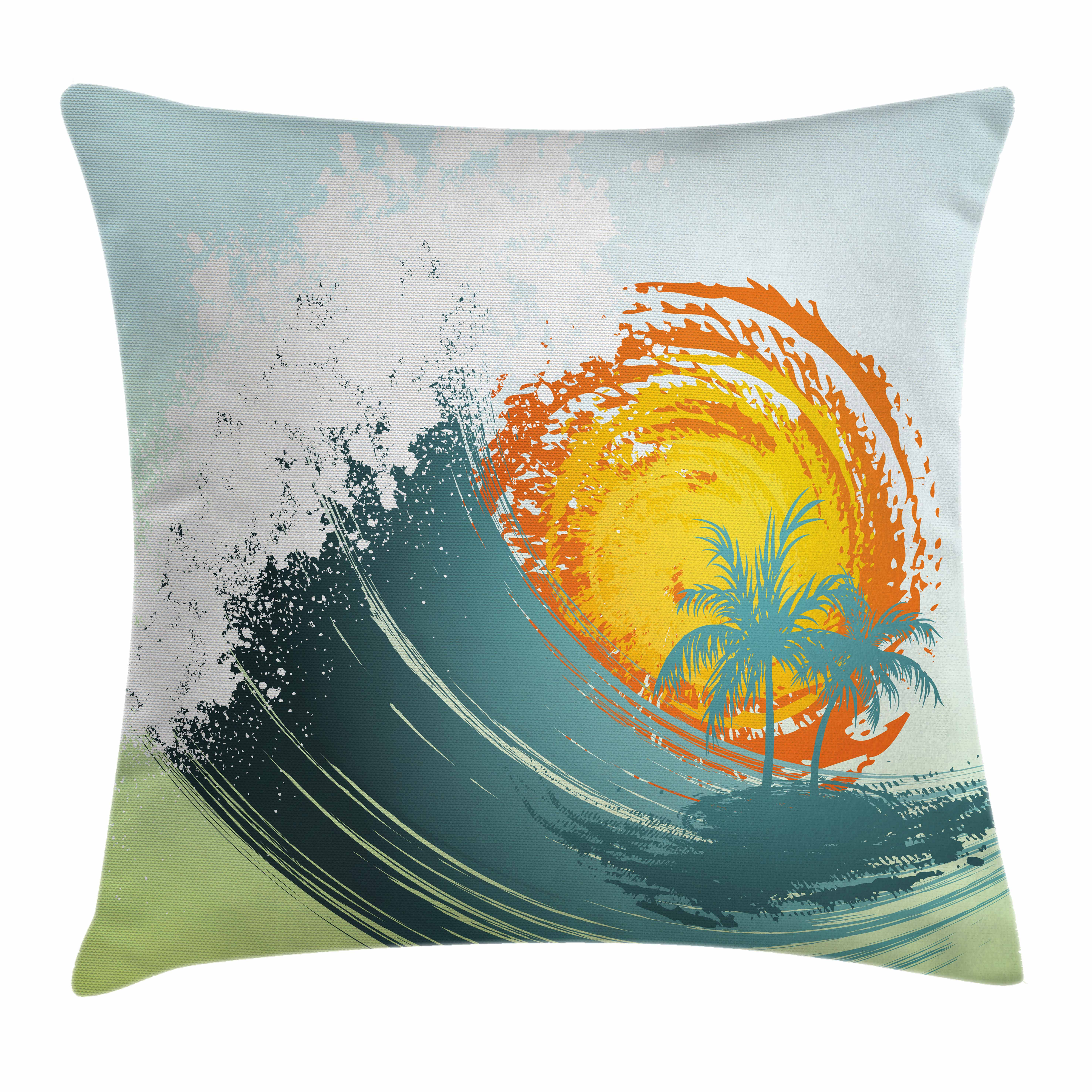Tropical Throw Pillow Cushion Cover, Exotic Coconut Palm Trees Sun Ocean Wave Summer Graphic, Decorative Square Accent Pillow Case, 24 X 24 Inches, Pale Green Petrol Blue Earth Yellow, by Ambesonne