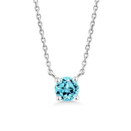 - 0.33 Ct Round Swiss Blue Topaz 10K White Gold Necklace