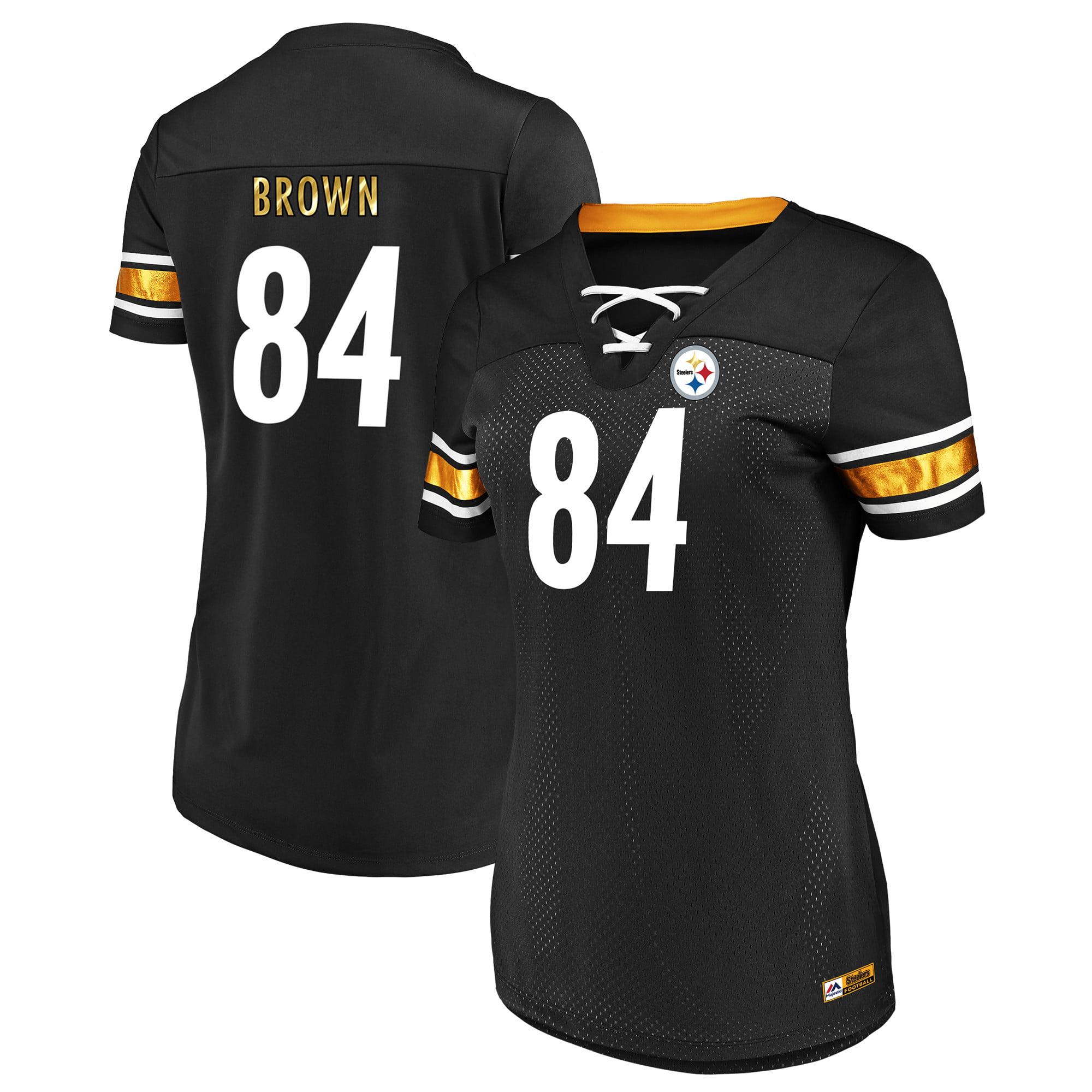 fe2c26f91c5 Antonio Brown Pittsburgh Steelers Majestic Women s Draft Him Fashion Name    Number T-Shirt - Black - Walmart.com
