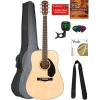 Fender CD-60S Dreadnought Acoustic Guitar - Natural Bundle with Gig Bag, Tuner, Strap, Strings, Picks, Austin Bazaar Instructional DVD, and Polishing Cloth