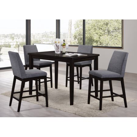 Home Source Domum Walnut 5 Piece Dining Set with 1 Table and 4 Chairs