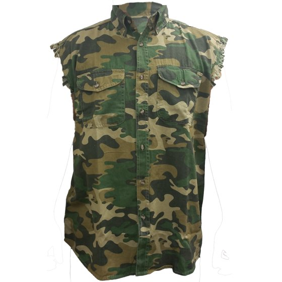037c39d332a63 SHORE TRENDZ - Men's Camo Sleeveless Denim Shirt Distressed USA Flag ...
