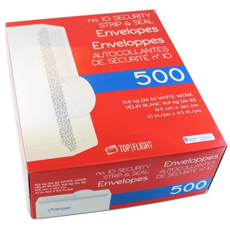 Top Flight PSTF10NWT #10 Envelopes, Strip & Seal, Security Tinted, White Paper, 24 lb, 500 Ct](Envelope Seals)