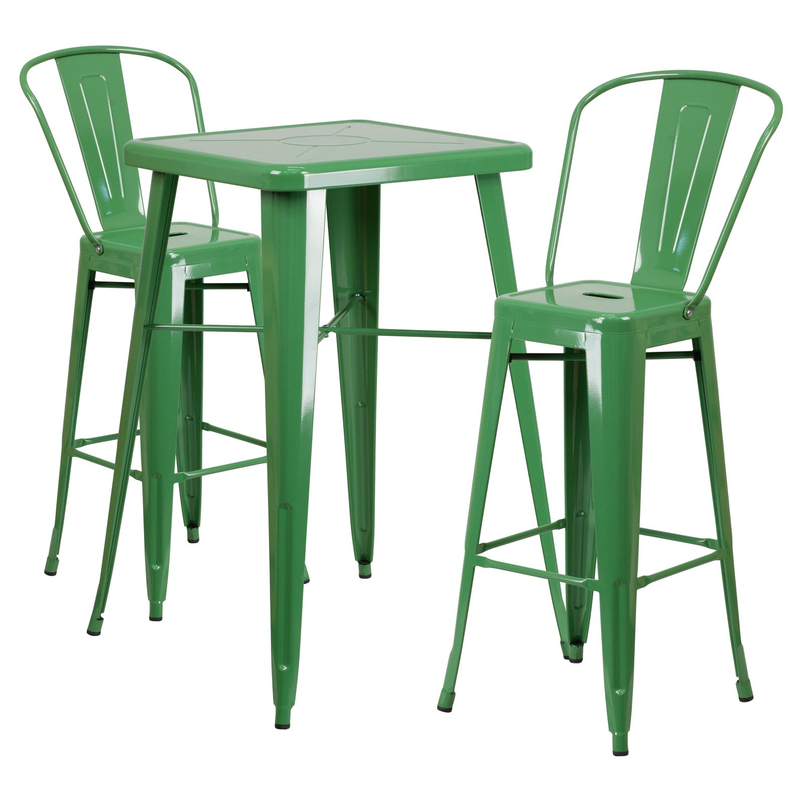 Flash Furniture 23.75'' Square Metal Indoor-Outdoor Bar Table Set with 2 Barstools with Backs, Multiple Colors
