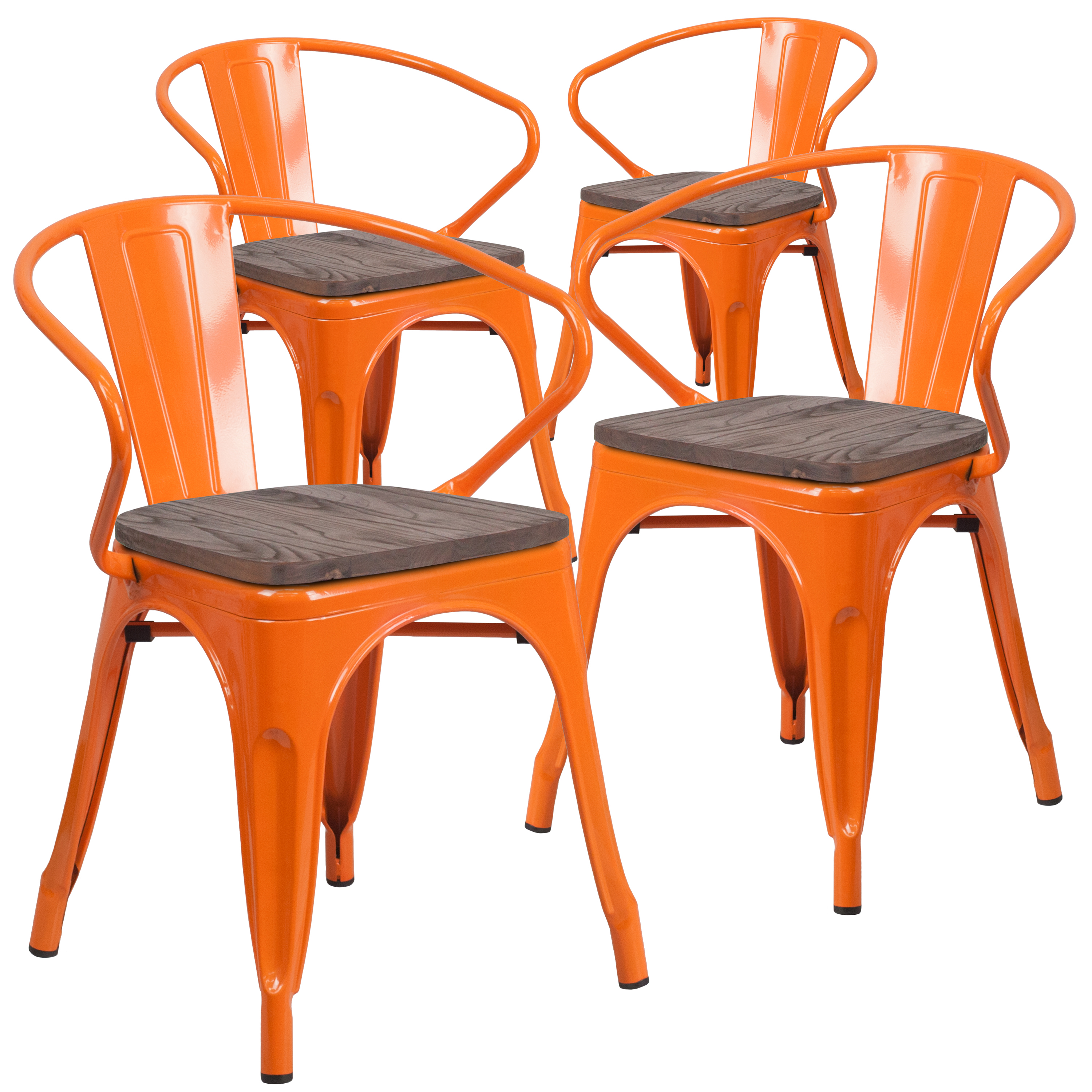 Flash Furniture 4 Pk. White Metal Chair with Wood Seat and Arms