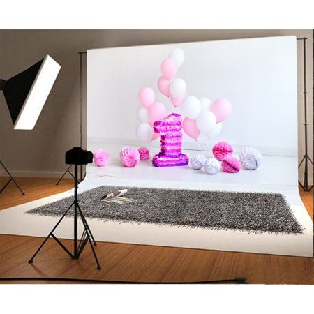 GreenDecor Polyster 7x5ft Photography Background Decoration For One Year Old Baby Girls Boys First Birthday Pink and white Balloons Paper Flowers Camera Photo Shoot Backdrops](Baby Boy First Birthday Decorations)