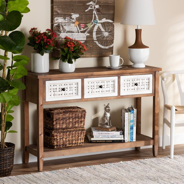 Baxton Studio Bonilla Traditional and Rustic Two-Tone White and Walnut Brown Finished Wood 3-Drawer Console Table