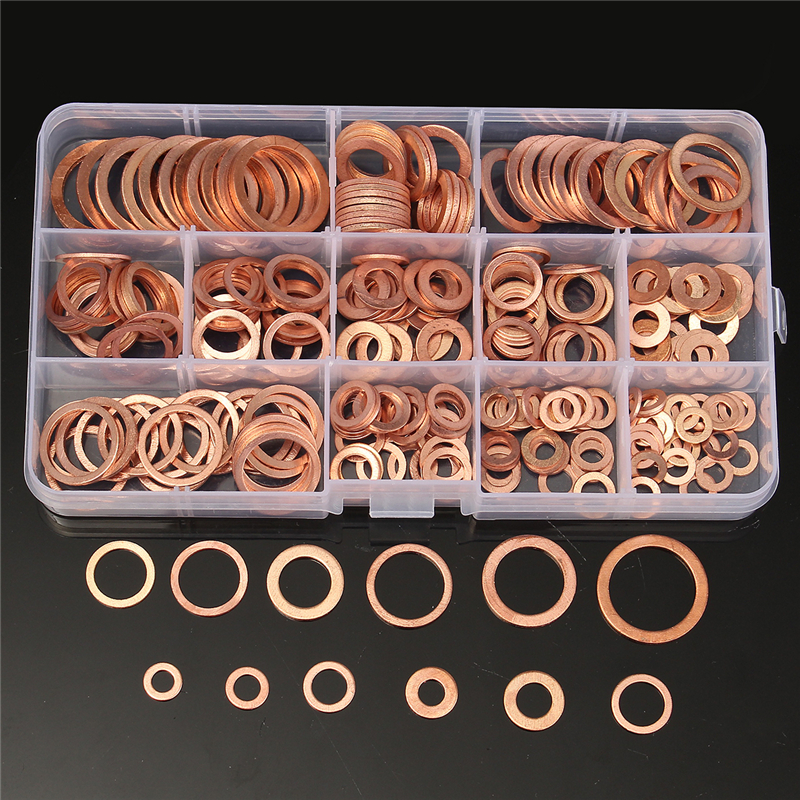 WSHR-01475 280pcs Copper Sealing Washer 12 Sizes Assorted Solid Copper Crush Washers Seal Flat Ring Set with Case
