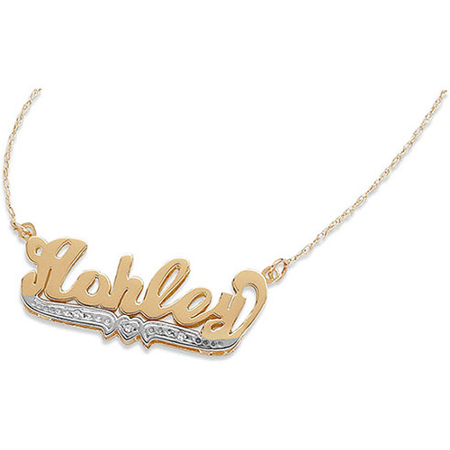Personalized 3-D Nameplate Necklace with Diamond Accents by Generic
