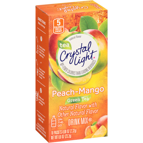 Crystal Light On The Go Metabolism+ Green Tea With Peach & Mango Drink Mix, 10 Ct
