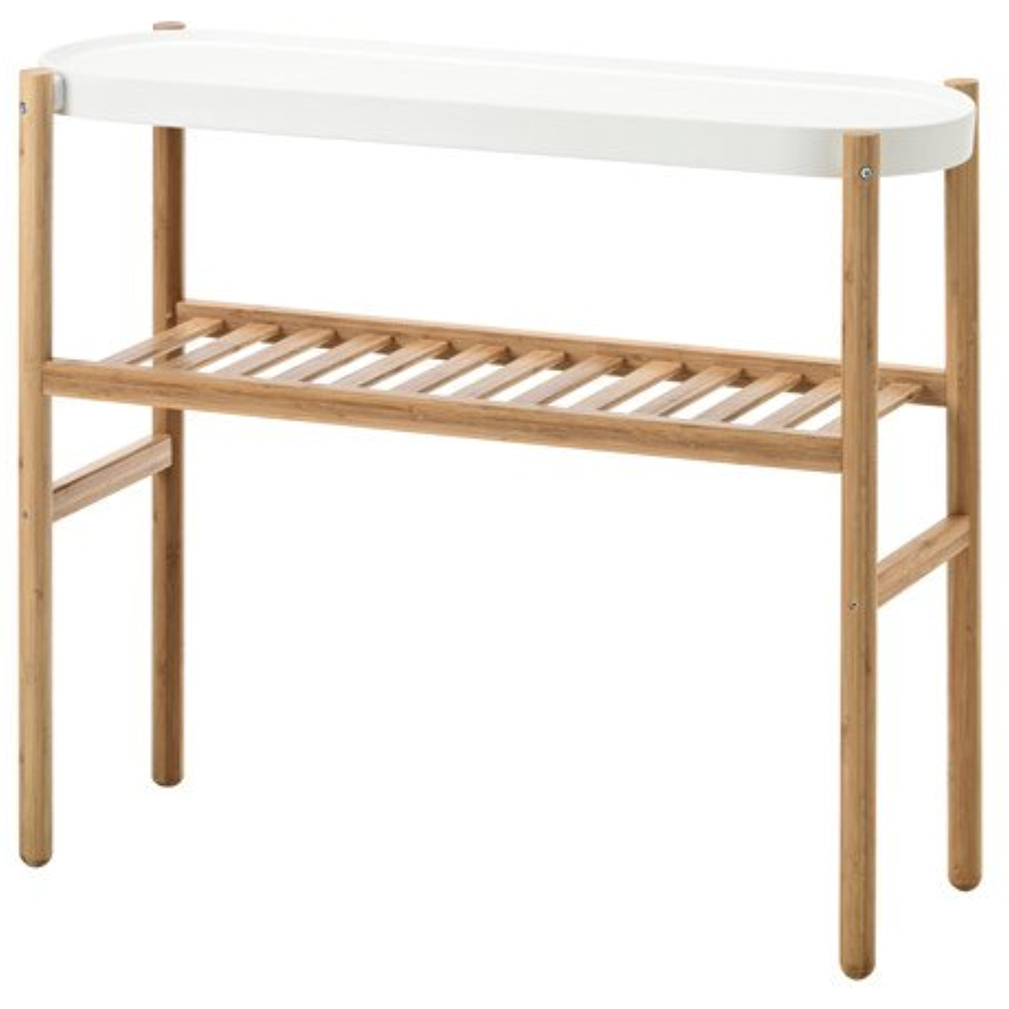 Ikea Plant Stand, Bamboo, White 38210.17265.1214