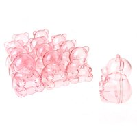 Baby Shower Plastic Teddy Bear Favor Box, 2-1/2-Inch, 12-Count, Pink