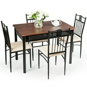 Costway 5-Pieces Dining Set Wood Metal Table and 4 Chairs Kitchen Breakfast Furniture