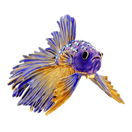 Purple Crowntail Betta Fish Trinket Box With Swarovski Crystal ()
