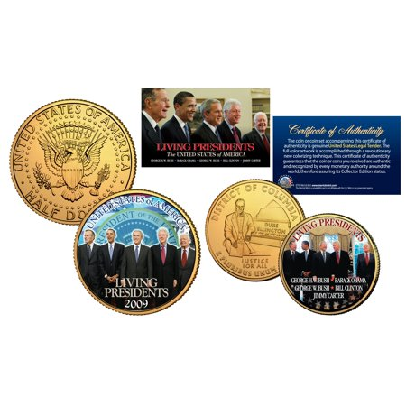 LIVING PRESIDENTS DC Quarter & JFK Dollar 2-Coin Set BUSH CLINTON OBAMA CARTER