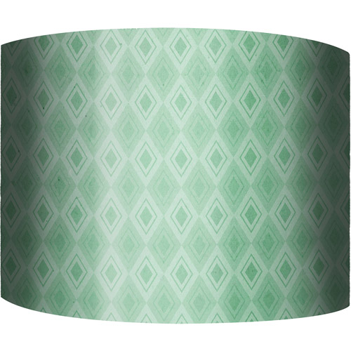 "12"" Drum Lampshade, Green Pattern by"