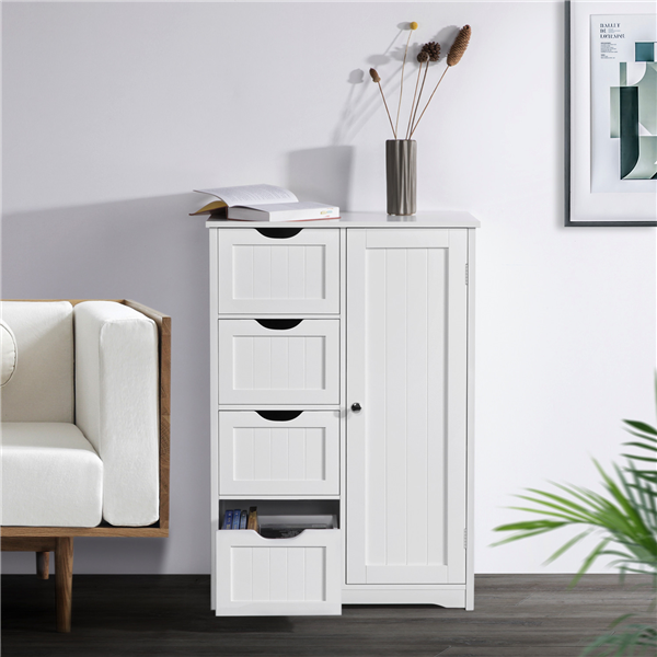 CHRISTOW White Bathroom Cabinet Floor Standing Small Wooden Drawer Storage Cupboard Unit With Shelf /& Drawer