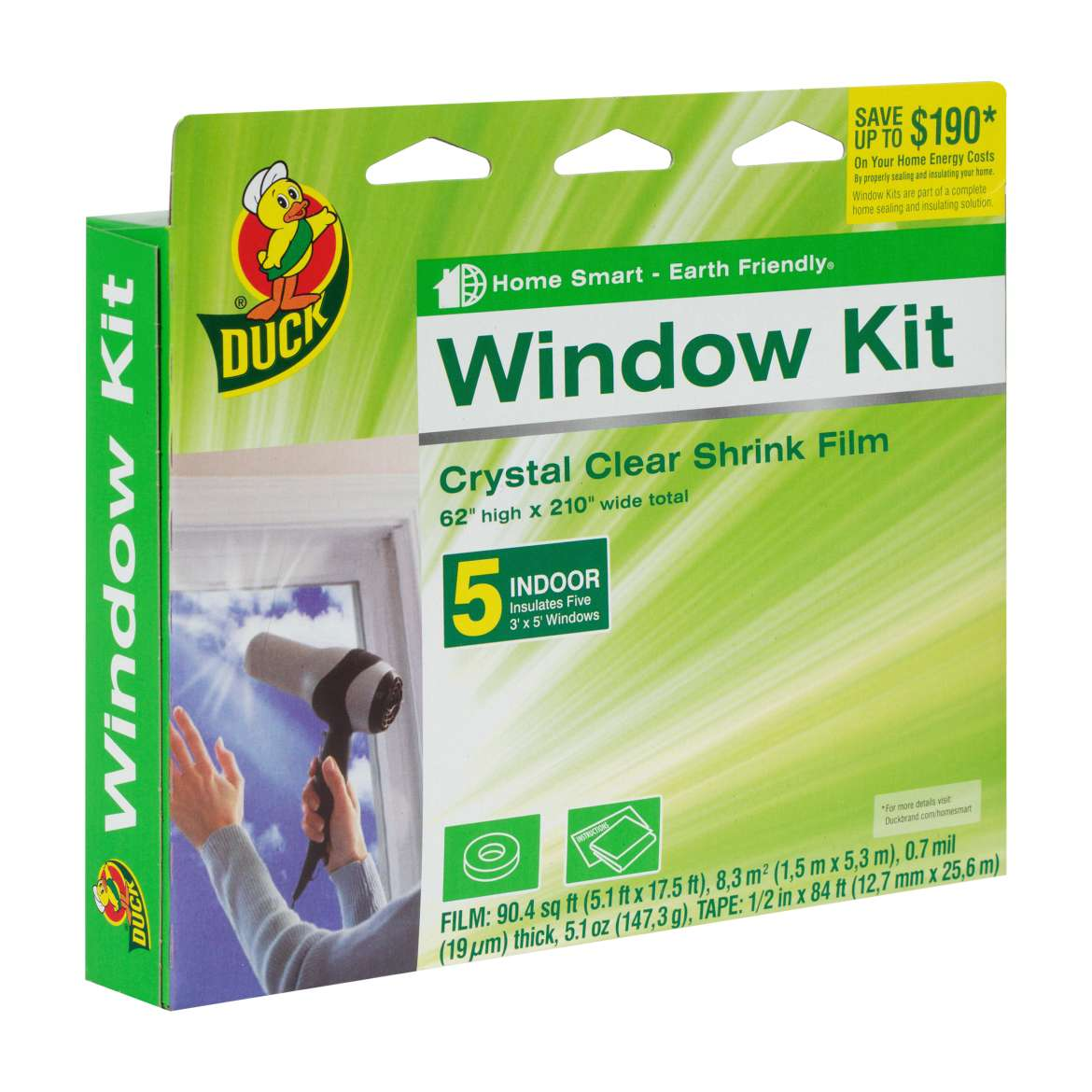 Duck Brand Shrink Film Indoor Window Kit, 5pk
