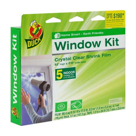 "Duck Brand Indoor Window Insulation Kit, Insulates Five 3' x 5' Windows, 62"" x 210"" Film"