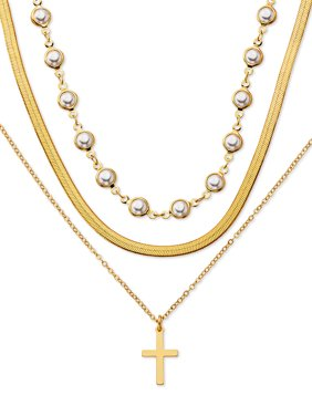 """Scoop Brass Yellow Gold-Plated Triple Layered Necklace, 15"""" + 3"""" Extender"""