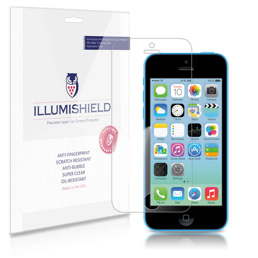 iLLumiShield Phone Screen Protector w Anti-Bubble/Print 3x for Apple iPhone 5C