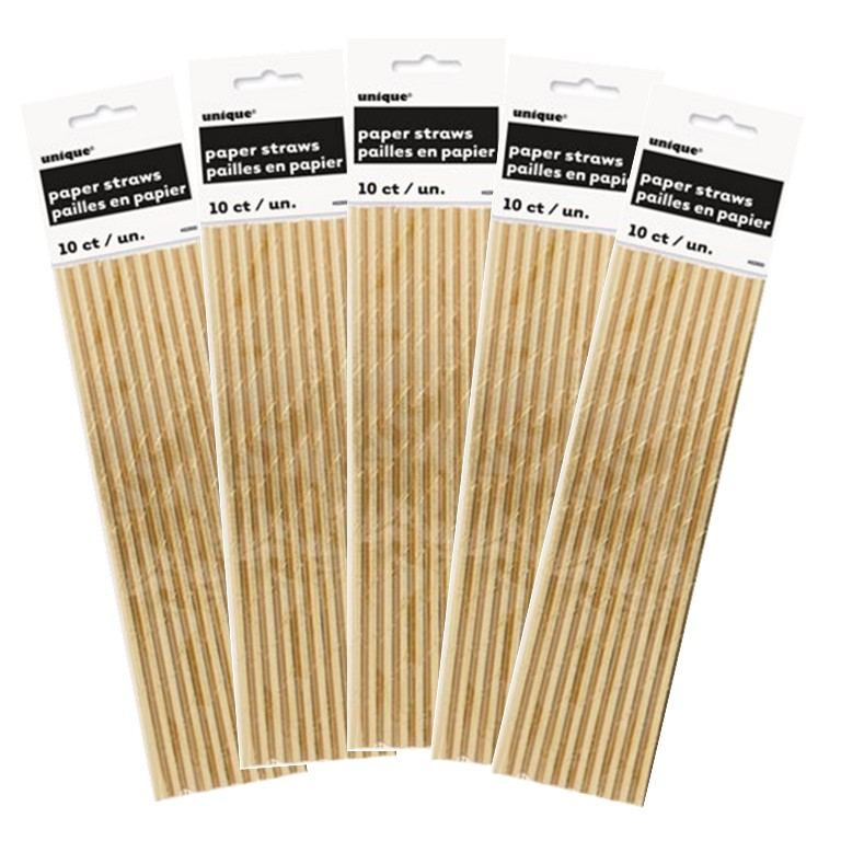 Unique Gold Foil Paper Straws, 8.25 in, 50 Ct (5 Packs of 10)
