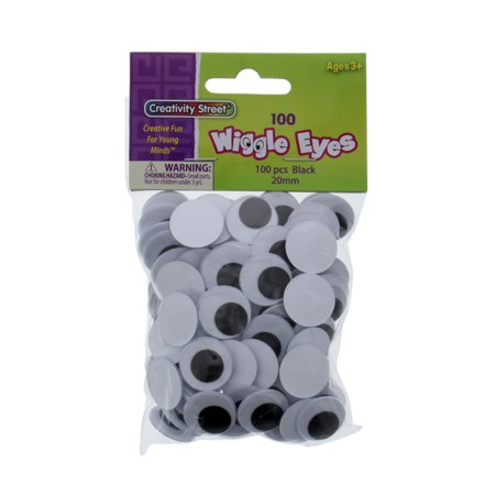 Creativity Street Wiggle Eyes, Glue-On, 20mm, Black, 100/Pkg. (Wiggle Eyes)