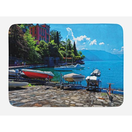 Coastal Bath (Coastal Bath Mat, Italian Harbor in Verena with Fishing and Sail Boats European Sea Town Picture, Non-Slip Plush Mat Bathroom Kitchen Laundry Room Decor, 29.5 X 17.5 Inches, Multicolor, Ambesonne)