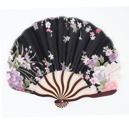 Unique Bargains Black Japanese Flodable Bamboo Frame Flower Pattern Handheld Fan](Japanese Fan)