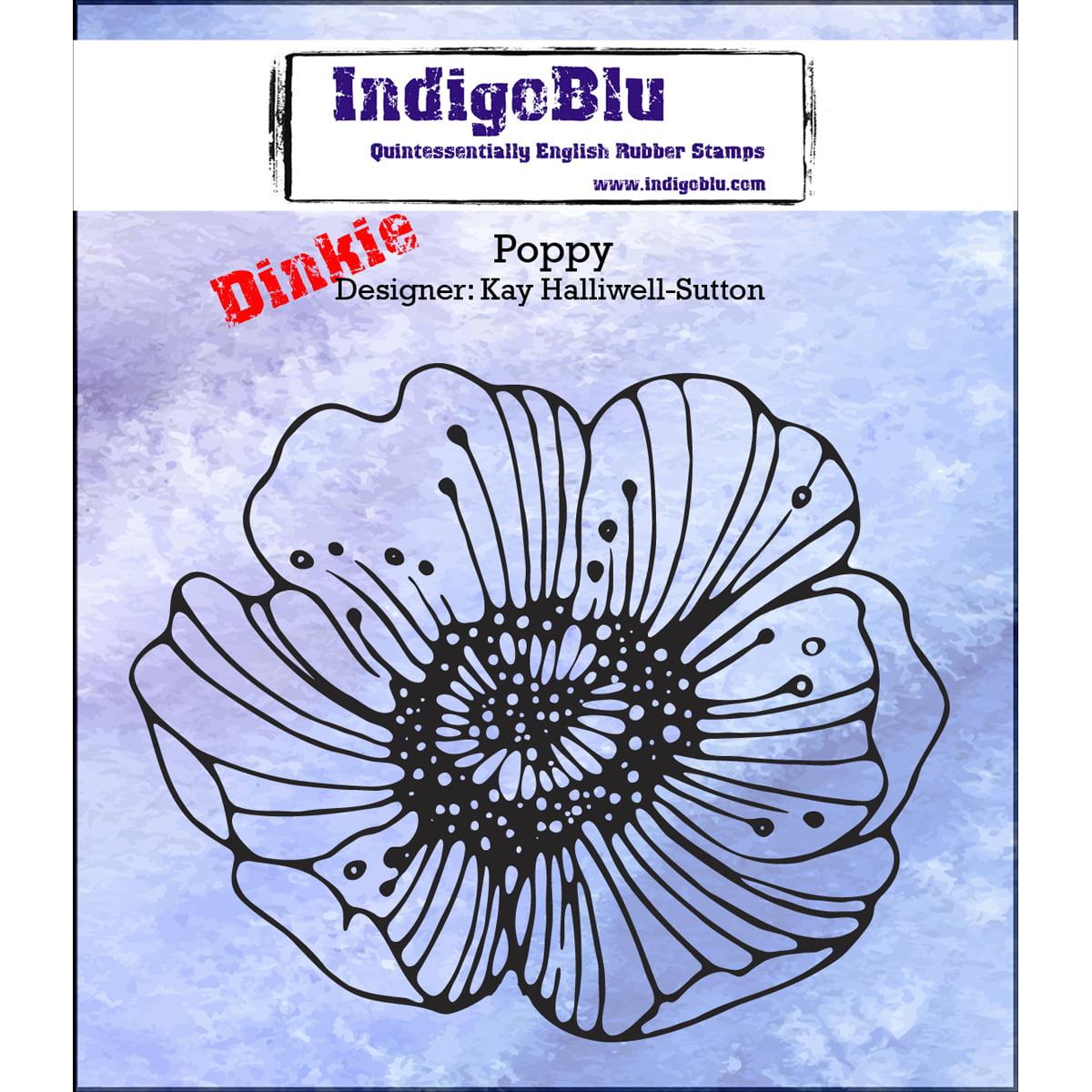 "IndigoBlu Cling Mounted Stamp, 3"" x 3"", Poppy-Dinkie"