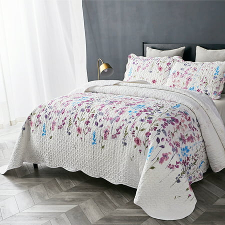 - Bedsure 3 Piece Lilac Floral Pattern All Season Quilt Set, Ultra-Soft Lightweight Bedspread Coverlet Set Quilt & Sham Collection