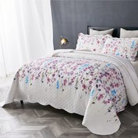 Bedsure 2-3 Piece Ultra-Soft Lilac Floral Pattern All Season Quilt & Sham Bedding Set