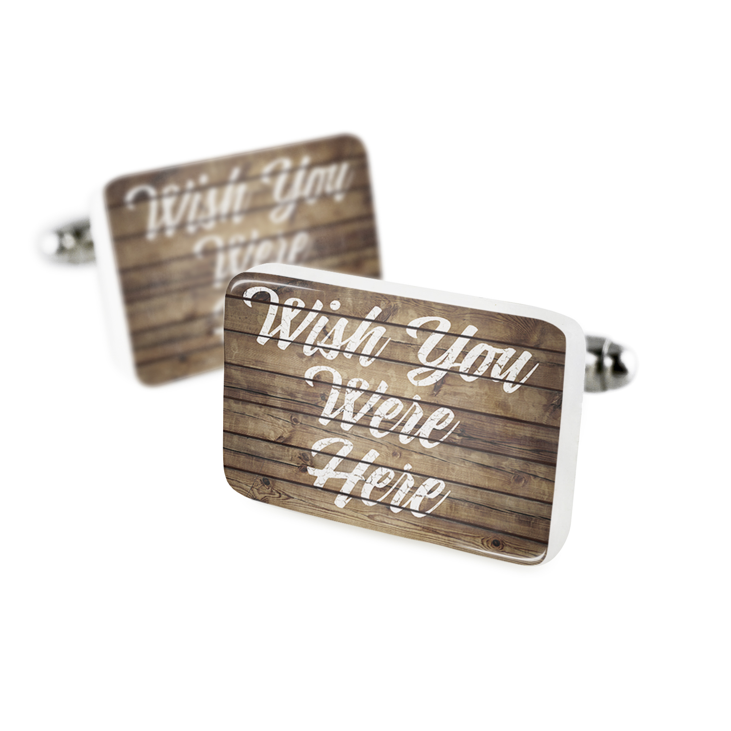 Cufflinks Painted Wood Wish You Were Here Porcelain Ceramic NEONBLOND