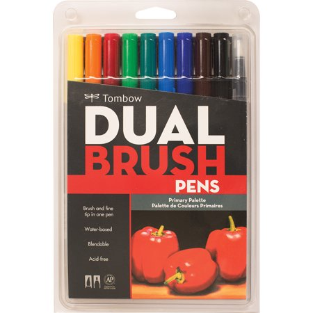 Tombow Primary Color Dual Brush Pens Set, 10 Pieces - Brush Pen Set
