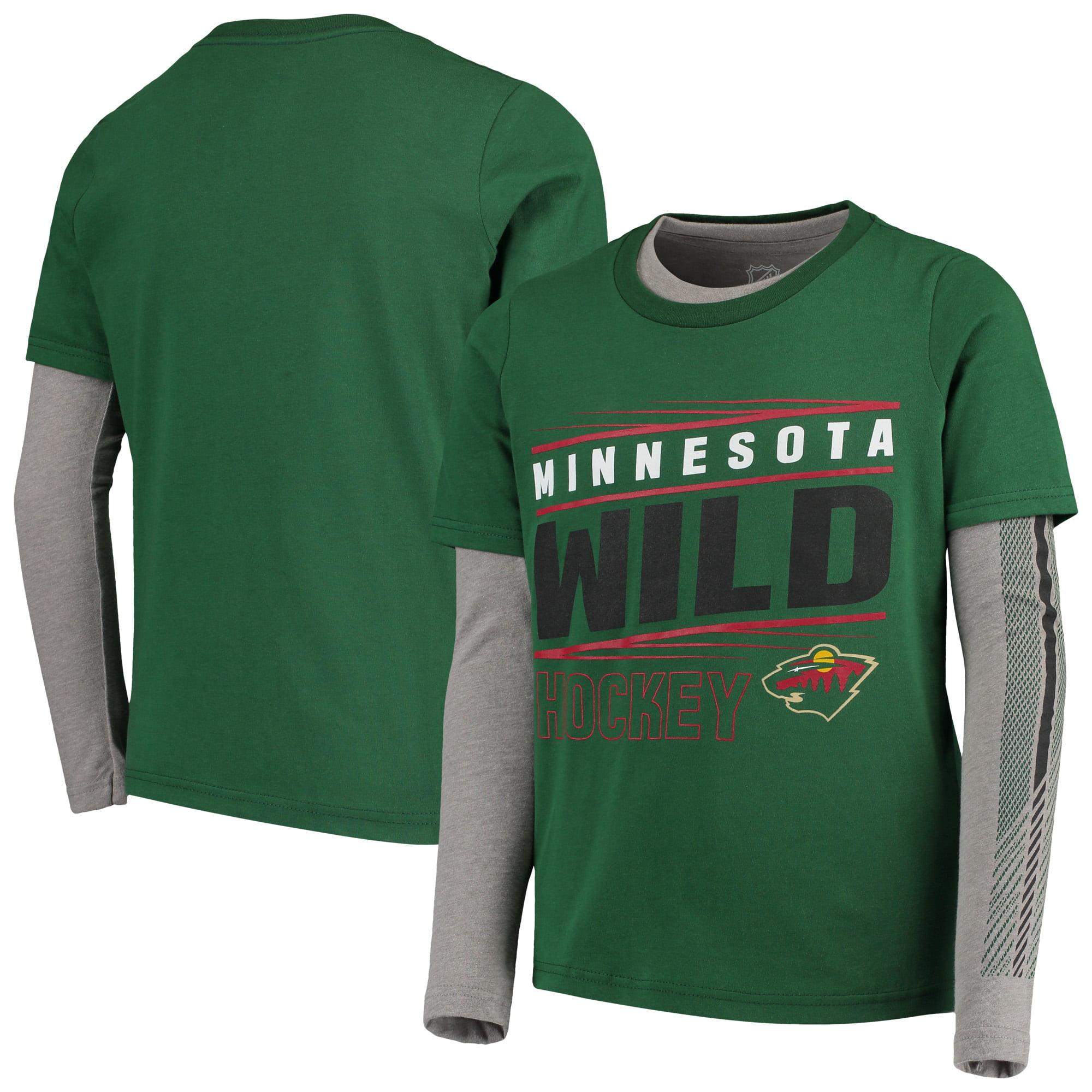 Minnesota Wild Youth Binary 2-In-1 Long Sleeve/Short Sleeve T-Shirt Set - Green/Gray