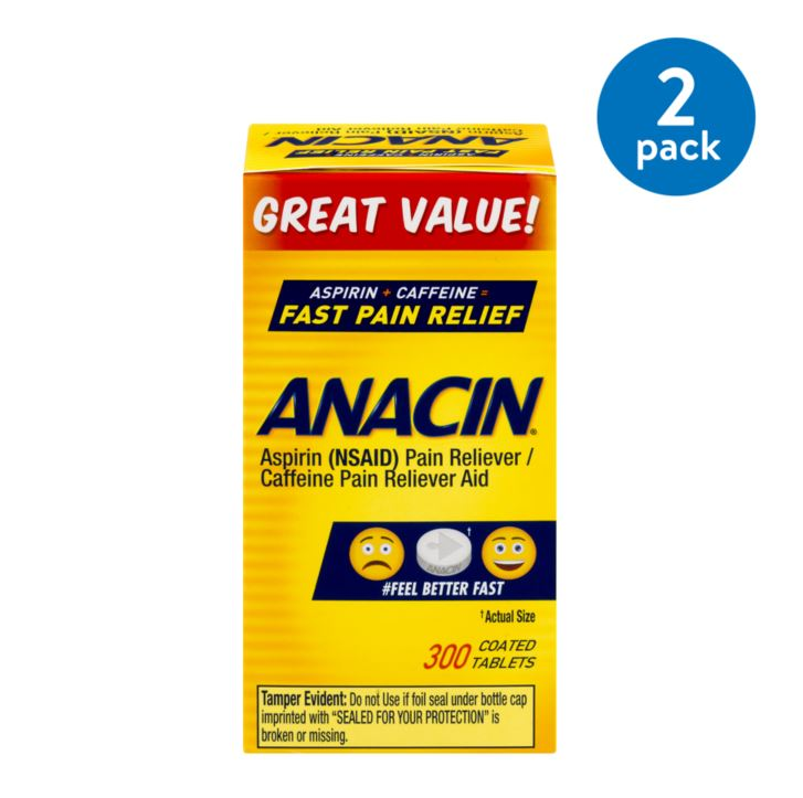 (2 Pack) Anacin Fast Pain Relief Tablets - 300 CT