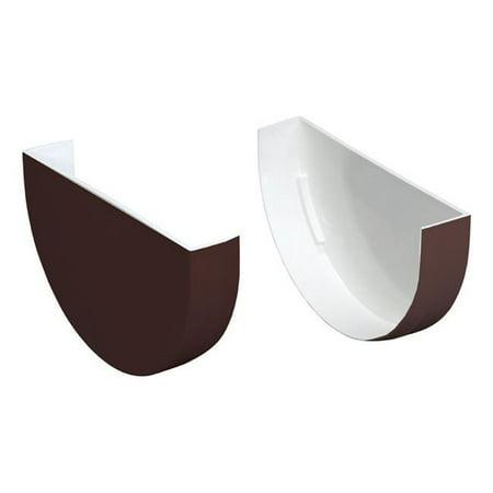Plastmo 5005383 Classic 4 in. Brown Vinyl Half Round Gutter End Caps (Raingo Vinyl Gutter)