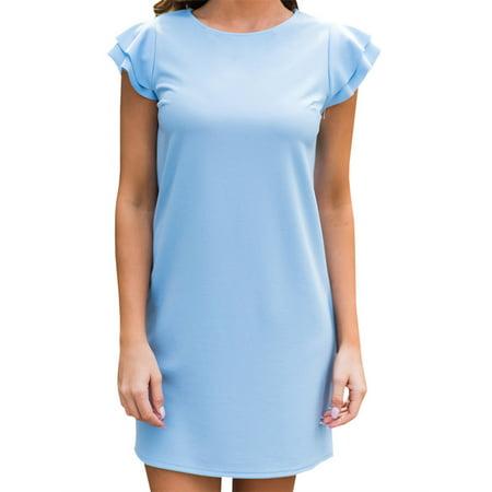 Mini Ruffle Convertible Dress - Ruffled Sleeve Women Solid Color Casual Mini Dress