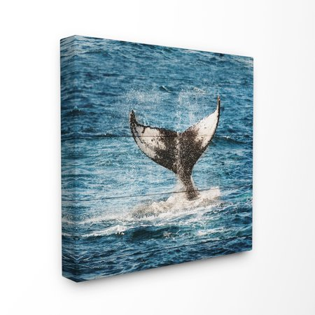 The Stupell Home Decor Collection Whale Tail Ocean Splash Planked Look Stretched Canvas Wall Art, 17 x 1.5 x (Splash Whale)
