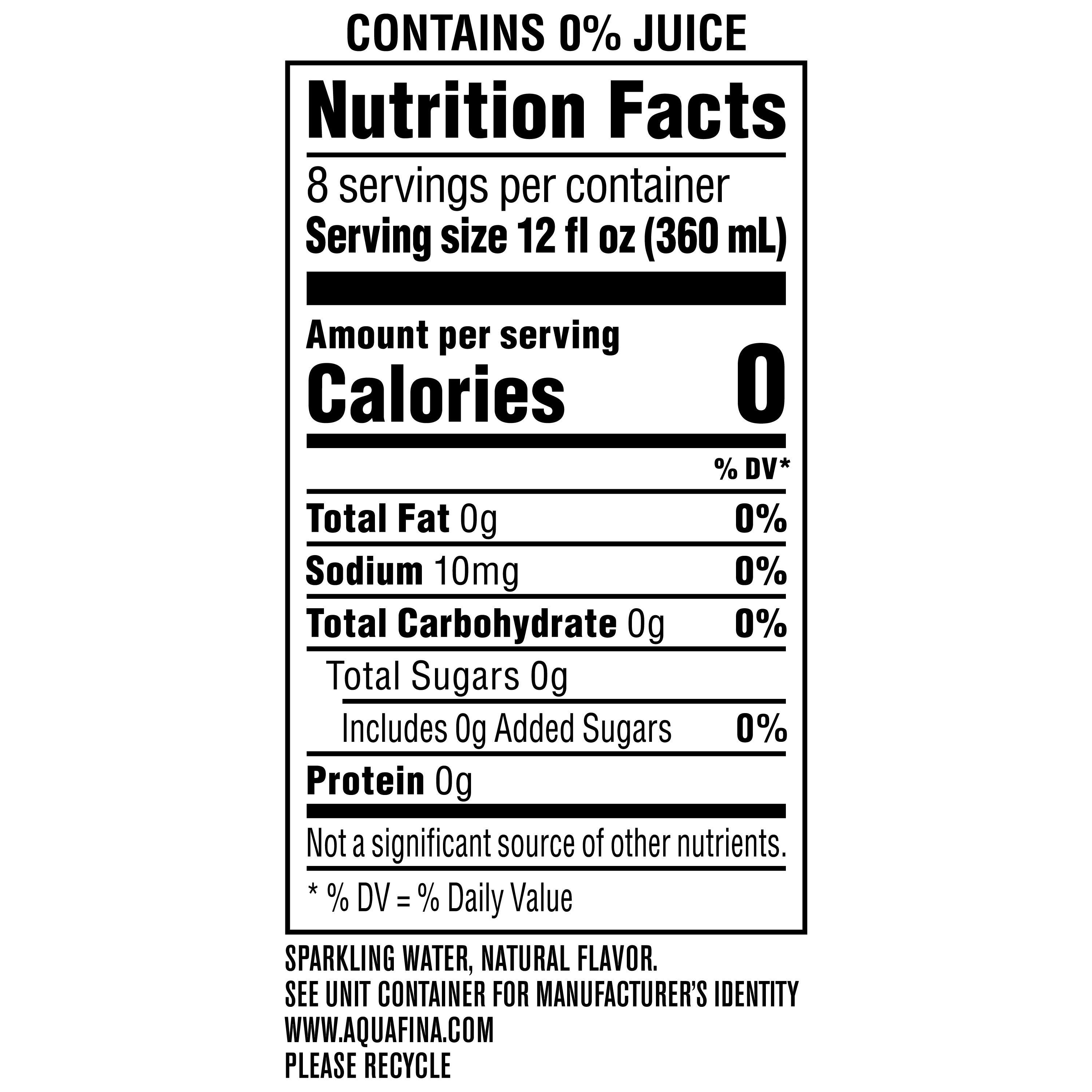 aquafina sparkling water nutrition facts