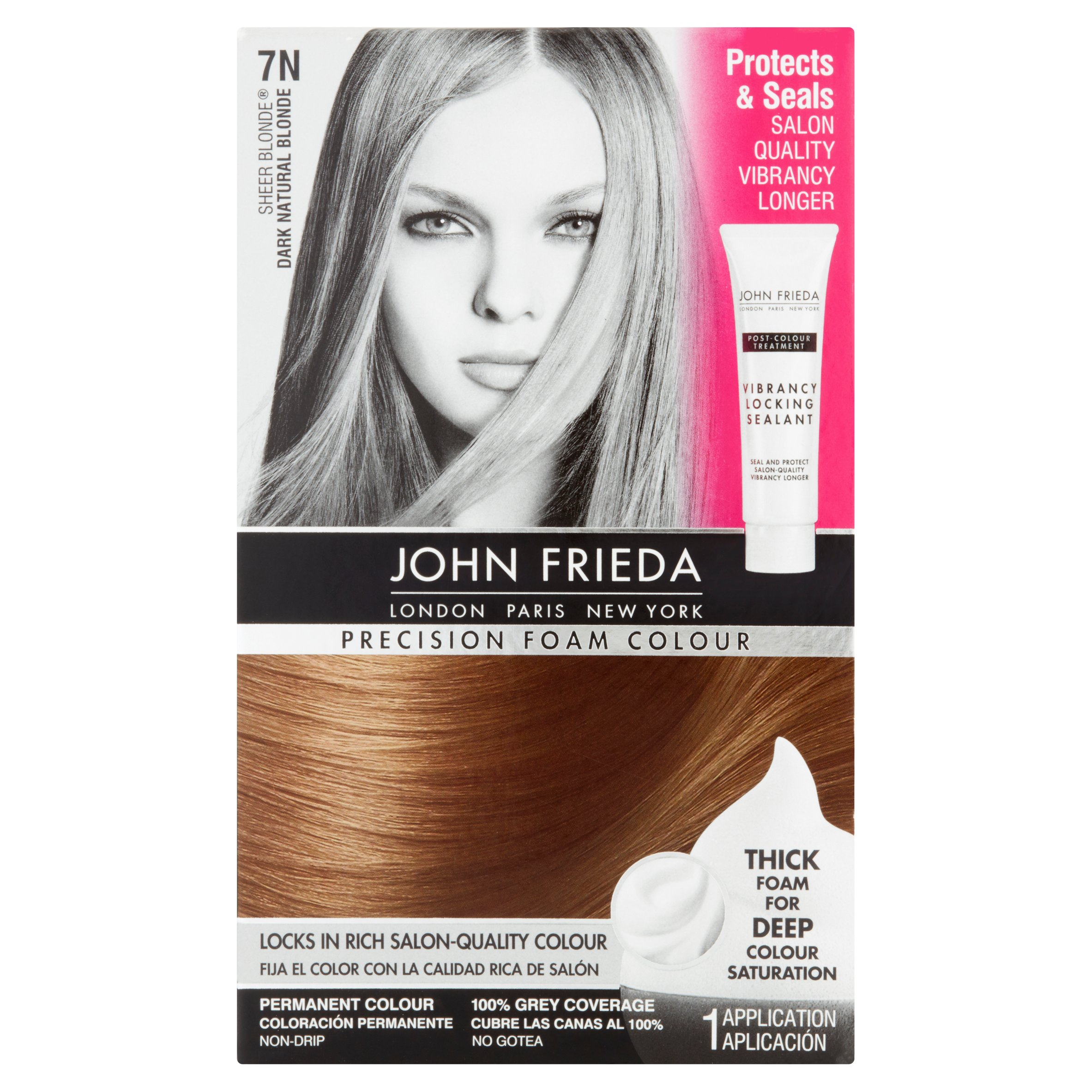 John Frieda Sheer Blonde 7N Dark Natural Blonde Precision Foam Colour, 1 application