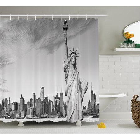 Black And White Shower Curtain Statue Of Liberty Of New York City