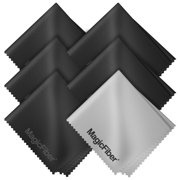 """(6 Pack) MagicFiber Microfiber Cleaning Cloths - For All LCD Screens, Tablets, Lenses, and Other Delicate Surfaces (5 Black and 1 Grey 6x7"""")"""