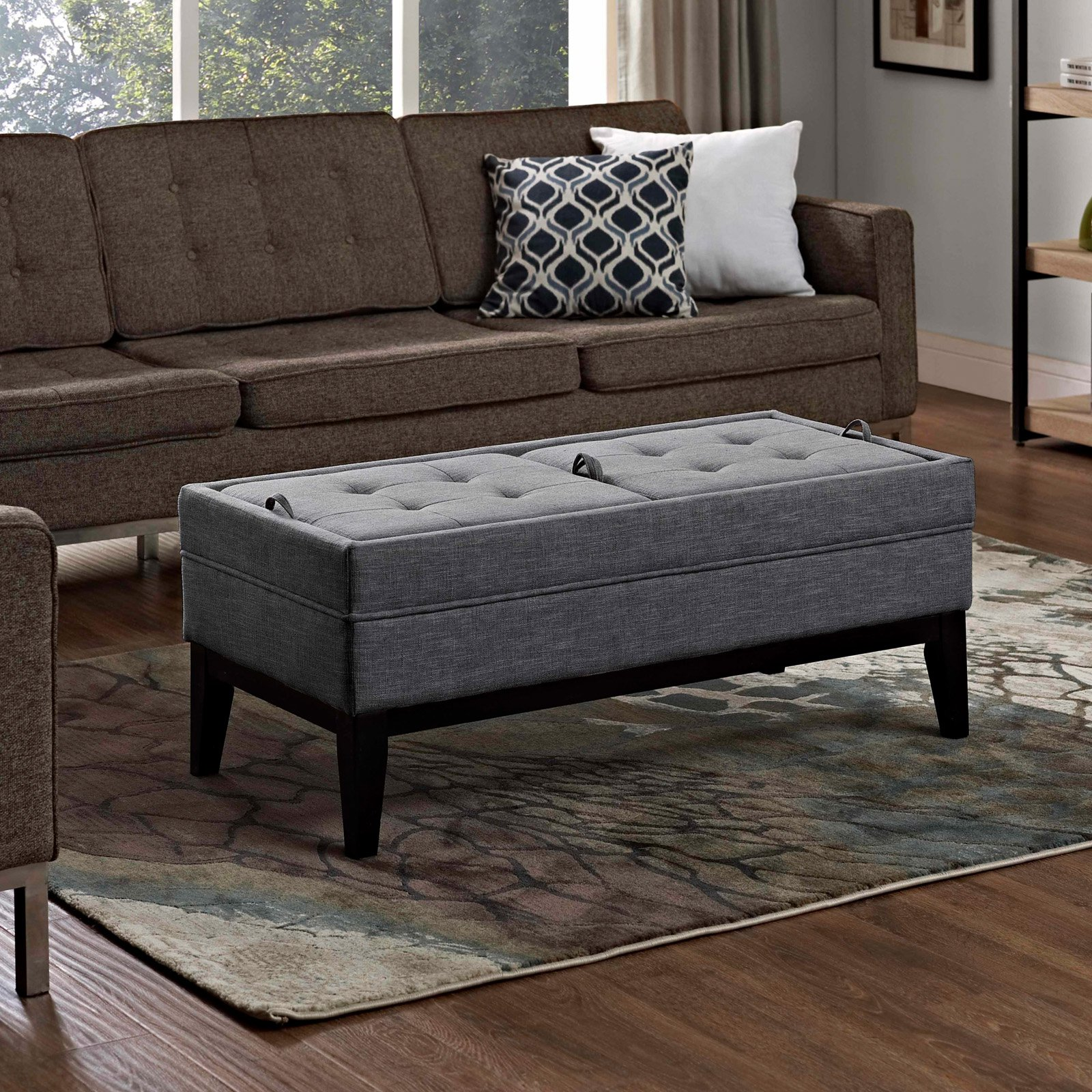 Simpli Home Castlerock Large Storage Ottoman Bench